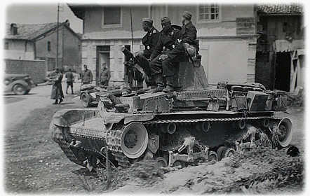 German Pzkw II tank in Holland in 1940.  Outclassed by many French and British tanks, it nonetheless was often found where they werent.